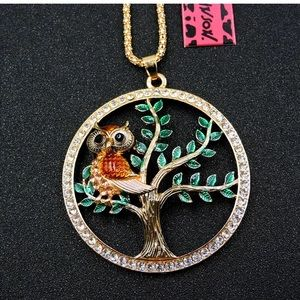 NWT Betsey Johnson Orange Rhinestone Owl in tree.